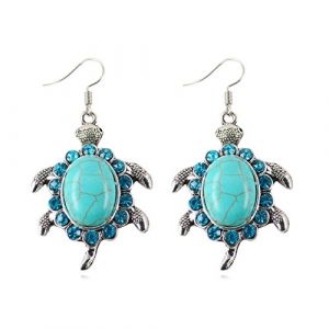 LUFA Boucles d'oreilles rétro forme tortue forme Drop Dangle boucles d'oreilles turquoise (LUFA, neuf)