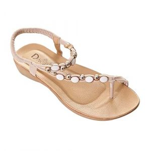 YOUJIA Plates Sandales Tong Casual Plage Strass Perlée Chaussure Sandale Été Femme Beige 38 (YOUJIA FASHION, neuf)
