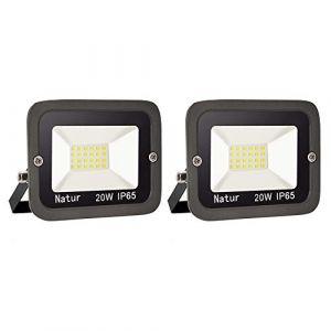 2 pack 20W Projecteur LED Extérieur bapro IP65 Imperméable spot led exterieur Blanc froid(6000k) économiseur d'énergie 100% Sécurité Floodlight pour Cour Terrasse Square Usine[Classe énergétique A++] (Bapro, neuf)