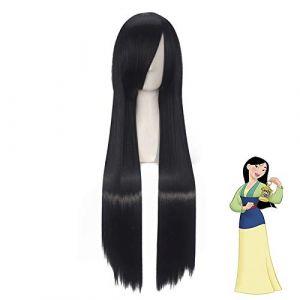Film Mulan Cosplay perruque 80 cm noir longue droite princesse femmes filles synthétique Halloween fête jeu de rôle perruques (bilichuanzd, neuf)