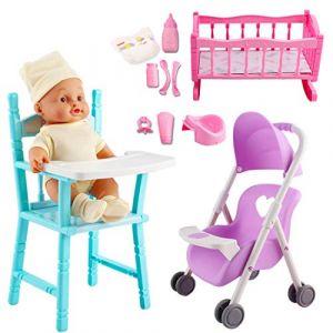 deAO Ensemble de Jeu 'Ma première poupée' Comprenant Un Berceau, Une Poussette, Une Chaise Haute, des Accessoires et Une poupée avec Fonctions Audio (LittleOrangeTech, neuf)