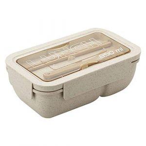 Boîte à bento micro-ondes boîte à lunch étanche avec fourchette et cuillère paille de blé pique-nique alimentaire boîte de rangement pour fruits pour enfants boîte de petit déjeuner adulte, beige (Serria, neuf)