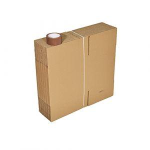 Lot 30 cartons déménagement livres poignées+ 2 adhésifs 66m (Carton Market, neuf)
