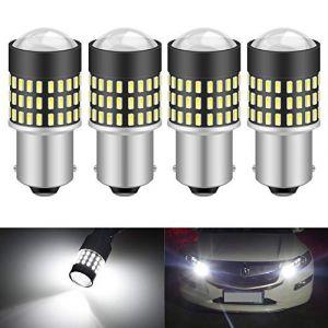 KaTur 1156 BA15S 7506 1073 1095 1141 Ampoule LED 900 Lumens 3014 78SMD Lentille LED Ampoules pour feu Stop Clignotant Feu arrière Feu de recul, Blanc Xenon (Pack de 4) (KAtur, neuf)