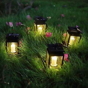 Lanterne Solaire, Lot de 4 LED Lampe solaire extérieure, avec des Bougies Sans Flamme qui Clignotent, Induction automatique Lampes Solaires de Jardin Terrasse Cour Décoration (Esbaybulbs, neuf)