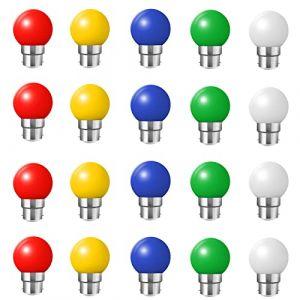Huamu Lot de 20 ampoules Led B22 2W Guirlande Rouge, Jaune, Verte,Bleu,blanc froid,Incassable (équivalence 20W) (HUAMu, neuf)
