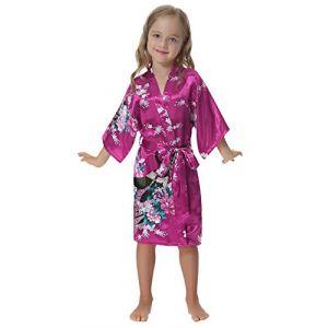 Aibrou Enfant kimono peignoir satin Pour brodé Fille chemise nuit robe Paon Fleurs de chambre longue garçon grande taille (Aibrou Direct, neuf)