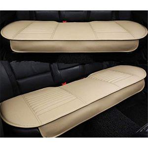 RAILONCH Housse de Siège de Voiture Cuir Bambou Charcoal Coussin Car Pad Respirant Protection Chaise de Voiture (beige,sièges arrière Bambou Charcoal) (Tini Regner, neuf)