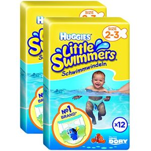 Huggies Little Swimmers Standard Taille 2/3 (3-8 kg) x 12 Culottes Lot de 2