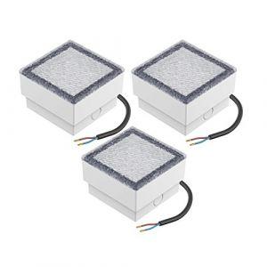 parlat LED pavé luminaire de sol CUS, 10x10cm, 230V, blanche-froide, 3 pcs (LEDs Com GmbH, neuf)