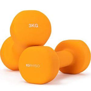 Haltères en néoprène, ensemble de 2 poids - Poster inclus, orange (2) x 3 Kg (KG PHYSIO, neuf)