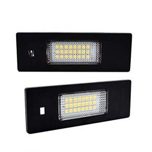 LncBoc LED Éclairage plaque immatriculation auto ampoules super brillant CanBus Pas d'erreur 6000K blanc froid 3W 12V 24SMD Feux arrière pour E87 E81 E87 ect, 2 Pièces (LncBocUK, neuf)