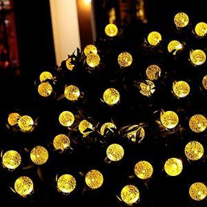 50 LED Solaire Guirlande Lampe Ronde–IMMIGOO® LED Lampe dÂ'Extérieur Imperméables Solaire, Lampe Boule, en Forme de Boule, Décor Sapin, Lampe Décor, pour Jardin Cour - Blanc Chaud (IMMIGOO, neuf)