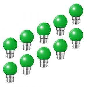 Ampoules baïonnette B22 - Paquet de 10 ampoule LED Feston 2 W (équivalent 20W), ampoule écoénergétique écoénergétique colorée vert, petites ampoules de Noël BC Cap (HUAMu, neuf)