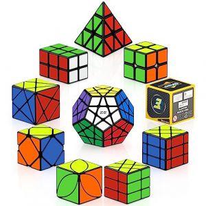 ROXENDA Speed Cubes, [Paquet de 10] Jeu de Cubes de Vitesse - 2x2x2 3x3x3 2x2x3 Moulin à Vent à axe Oblique Fisher Megaminx Pyramid Ivy Cube Smooth Magic Cubes Collection de Casse-tête (HURDILEN, neuf)
