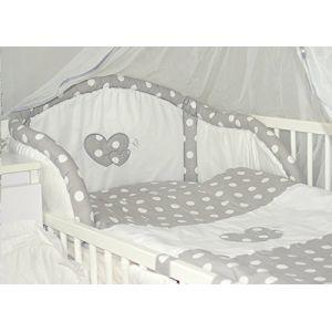 Baby's Comfort Parure de lit bébé ENSEMBLE DE 6 PIÈCES DE LITERIE CHOIX COULEURS HEARTS (s'adapte lit 140x70 cm, 2) (Baby's Comfort, neuf)