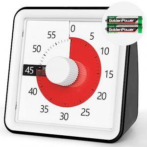 Minuteur analogique visuel 60 minutes, compte à rebours sans bruit, outil de gestion du temps pour enfants et adultes, minuteur d'examen, minuteur de cuisine,réunions, bureau, cuisine, bureau, noir (VULKEN Europe, neuf)