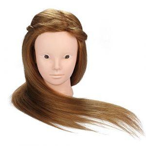 22-24 pouces Coiffure Tête de formation en coiffure, Poupée en fibre synthétique en marron, Pour le curling la coupe, le tressage, la tête de poupée, le mode maquillage avec pince de tablee de table (MINLIDAY, neuf)