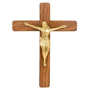 Hashcart Croix Christ Jésus Crucifix Croix chrétienne en Bois de Rose et Laiton (38,1cm), 38cm (Hashcart India, neuf)