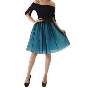 Aivtalk Jupon Jupe en Tulle Taille Élastique Femme Vintage Mi-Longue Petite Minijupe Tutu Gaze Multi Couchés Petticoat Soirée Déguisement Bleu Noir (Aolueu, neuf)