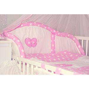 Baby's Comfort Parure de lit bébé ENSEMBLE DE 6 PIÈCES DE LITERIE CHOIX COULEURS HEARTS (s'adapte lit 120x60 cm, 1) (Baby's Comfort, neuf)