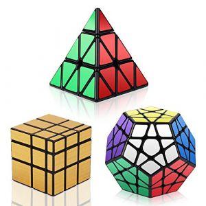 Vdealen- Noir Magic Dodecahedron Megaminx + 3x3x3 Pyramid + 3x3 Doré Miroir Puzzle Cube, Pack Argent (HURDILEN, neuf)