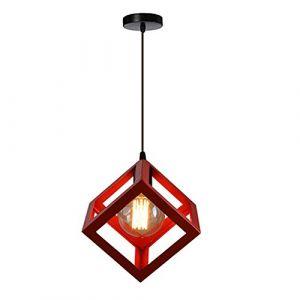 STOEX Suspension Luminaire Industrielle Contemporain, Lustre Abat-Jour Plafonnier en Métal Fer Cage E27 (Cube-Rouge) (STOEX, neuf)