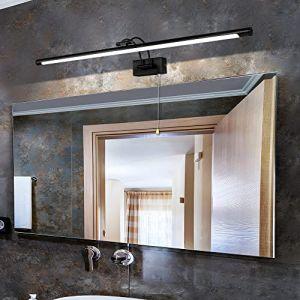 MantoLite Applique Murale 16W,Métal Miroir Salle de Bains Lumière LED avec tête de Lampe Pivotante et Interrupteur pour Chambre Intérieur Éclairage,IP44 3000K Lampes de Lecture de Chevet (Noir, 90CM) (Mantolux, neuf)