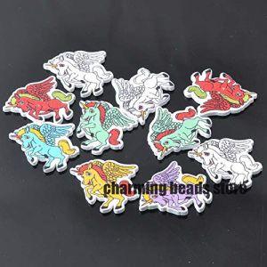 mixte beau cheval aile peint boutons décoratifs en bois Scrapbooking Craft 100pcs 29x34mm MT0372 (HATOLY Official Store, neuf)