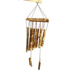 Ritte Carillon en Bambou, Carillon à Vents Son Apaisant Suspendus Creative Wind Chime pour Le Jardin Intérieur Extérieur, Terrasse et Décoration de la Maison (Ritte, neuf)