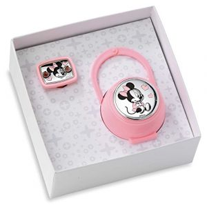 Disney Baby - Attache sucette, chaîne avec boîte en argent - cadeau de naissancec(rose) (Valenti&Co, neuf)
