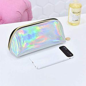 Sac cosmétique portable simple grande capacité portable sac de rangement cosmétique petite trompette en argent (ManManXu, neuf)