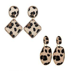 2 pair Boucle d'oreille Acrylique Bohème Déclaration Pendentif Boucles d'oreilles pendantes Bijoux à la mode Boucles d'oreilles - Léopard 1 (zihuistore, neuf)