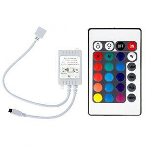 24 Keys Contrôle Contrôleur, EPBOWPT LED RGB Strip Télécommande IR pour Bandes LED 10m 5050 SMD RGB bande 24 V Changement de couleur LED Barre Lumineuse (KitKich-DE, neuf)