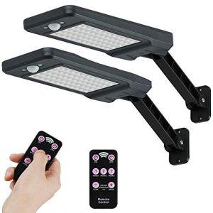 60 LED 7W Solaire IP65 Lampe de Extérieure étanche Noir avec support réglable et Télécommande,3 Modes 180° Lumières de de détecteur de mouvement Extérieur pour Jardin,Garage, Cour, Escalier (Sumaote, neuf)