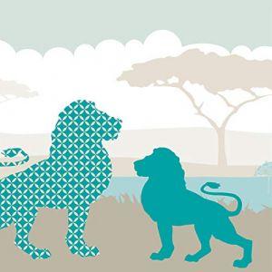 """anna wand design frise murale auto-adhésive, 450 x 11,5 cm, motif africain avec les animaux sauvages """"Hello Afrika"""" beige/turquoise/bleu, pour chambre d'enfants (design your home, neuf)"""
