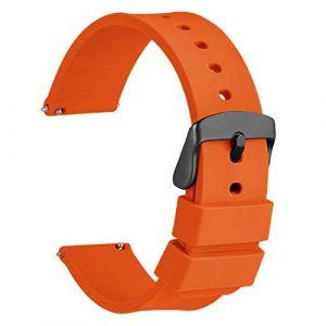 WOCCI 22mm Bracelet de Montre en Silicone Orange avec Boucle Noire pour Les Femmes Hommes (Wocci Watch Bands~FR, neuf)