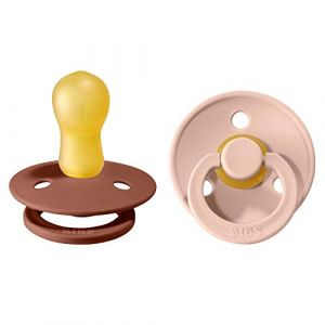 Tétine BIBS Colour, lot de 2, caoutchouc naturel, tétine danoise en forme de cerise. Sans BPA. (Woodchuck / Blush, taille 3 (dès 18mois)) (BIBS World, neuf)