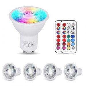 YAYZA! 4-Paquet Premium Dimmable GU10 6W RGB + Blanc Chaud 3000K Couleur Changeante IR Télécommande LED Spot Downlight Ampoule (ClickBuy Group, neuf)
