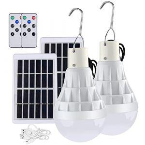 TechKen 2 Pièce Solaire alimenté Ampoule Led, 12W Lampe Urgence Solaire rechargeable avec télécommande pour extérieur, randonnée, Camping, tente de pêche (Weapow, neuf)