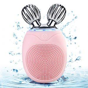 Brosse nettoyante faciale vibrante en silicone imperméable portable Mini nettoyant et masseur facial pour rouleau (Petyoung, neuf)