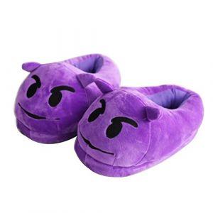 MYMM Stuffed Household Indoor Pantoufles, Emoji Peluche Doux en Peluche Slipper Hommes et Femmes Chaussons Hiver Chaud House Shoes (Diable) (MYMM YT, neuf)