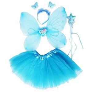 Fun Play TOWO Deguisement de Clochette fée Papillon - Ailes, Baguette, Serre-tête et Tutu - Déguisement Papillon pour Enfants 3 - 8 Ans -Couleur Bleu Aqua (Toys of Wood Oxford, neuf)