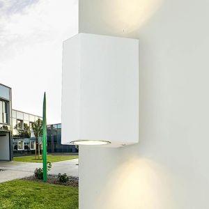 Spot extérieur mural compact up down pour façades en blanc 2x douille GU10 jusqu'à 35W chacune IP44 Lampe extérieure lampe de jardin cour extérieur (Licht-Erlebnisse, neuf)