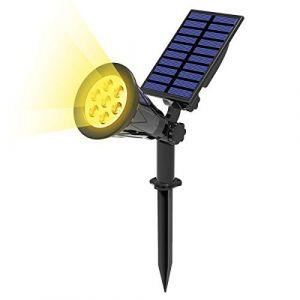 T-SUN 7 LED Solaire Projecteur, 2 en 1 Lampe Solaire, Blanc Chaud 3000K, Extérieur sans Fil Etanche IP55 Lampe Jardin avec Panneau Solaire 180° Réglable Spot Solaire Extérieur pour Jardin, Cour, Extérieur, Chemin, Allé. (T-SUNLED, neuf)
