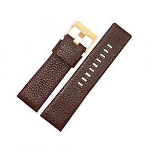 30mm Bracelet Montre Homme Bande en Cuir véritable Bracelet Bracelet de litchis Grains pour Diesel Montre Bande Souple Montre Ceinture Boucle d'or Brun,27mm (zhouhua6, neuf)