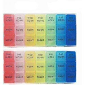 GCOA 2 Pcs Pilulier Journalier Semainier Boîtes à pilules, 7 Jours 21 Compartiments Multicolores (3 fois par jour) - Anglais (GCO-EU, neuf)