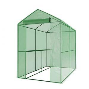 Serre de Jardin Classique - bache armée - 2,26m2-1,8 x 1,2m avec 2 étagères et Porte zipée (Outside Fun, neuf)