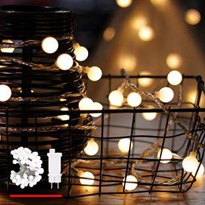 Guirlande lumineuse, de mycozylite®, Boule, blanc chaud, 100LED(10m), ligne électrique 5m, Décoration pour intérieur et extérieur, Trasformatore a bassa tensione 31V, Extensible (theLightHouse, neuf)