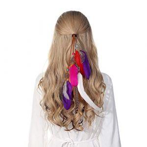 Bandeau en plumes coiffe hippie indienne - coiffes en plumes à gland Boho pour femmes Costume Festival chapeaux (Violet) (anjerry, neuf)